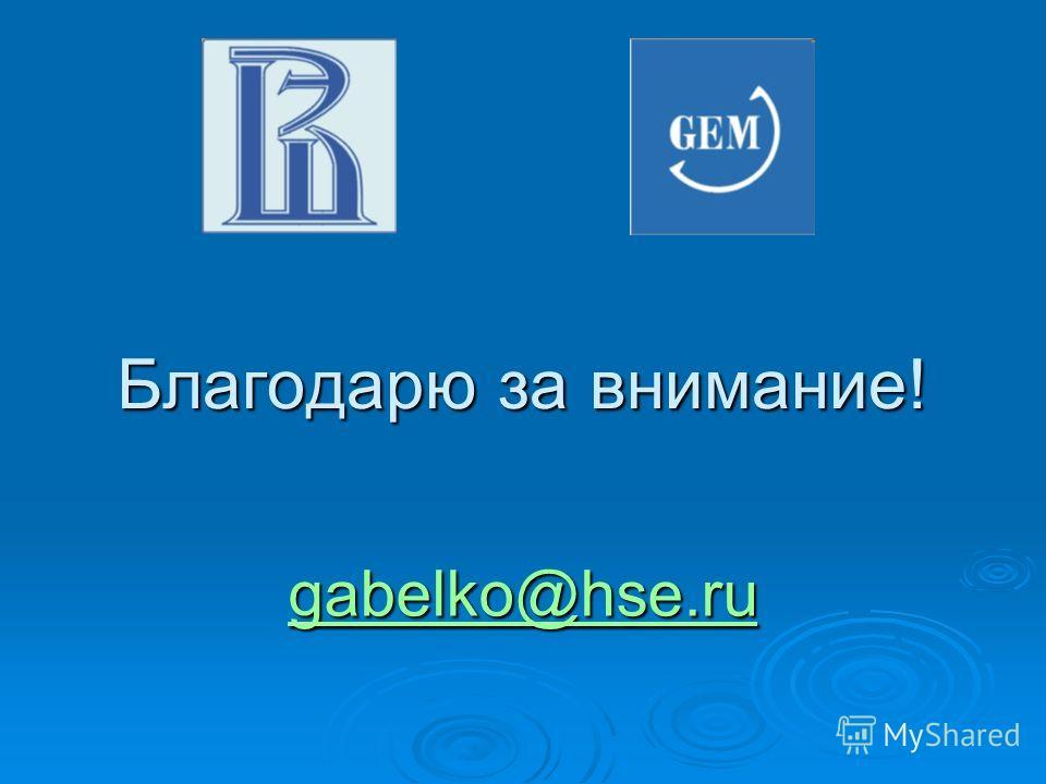 Благодарю за внимание! gabelko@hse.ru