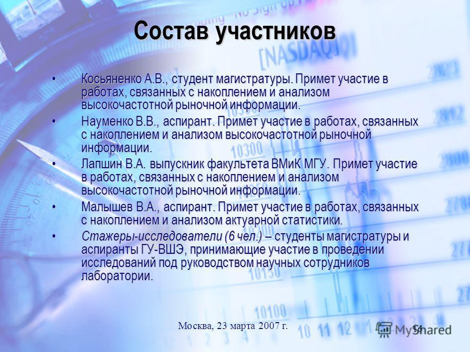 Москва, 23 марта 2007 г. 16 Состав участников Косьяненко А.В., студент магистратуры. Примет участие в работах, связанных с накоплением и анализом высокочастотной рыночной информации.Косьяненко А.В., студент магистратуры. Примет участие в работах, свя