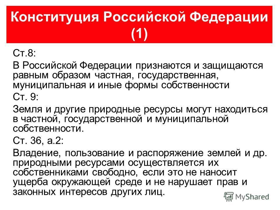 Конституция Российской Федерации (1) Ст.8: В Российской Федерации признаются и защищаются равным образом частная, государственная, муниципальная и иные формы собственности Ст. 9: Земля и другие природные ресурсы могут находиться в частной, государств