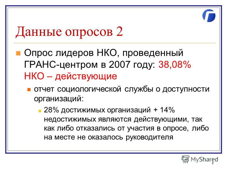 Данные опросов 2 Опрос лидеров НКО, проведенный ГРАНС-центром в 2007 году: 38,08% НКО – действующие отчет социологической службы о доступности организаций: 28% достижимых организаций + 14% недостижимых являются действующими, так как либо отказались о