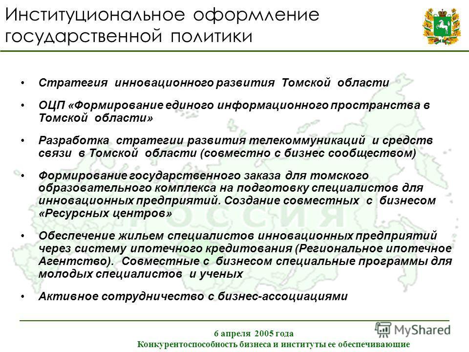 Институциональное оформление государственной политики 6 апреля 2005 года Конкурентоспособность бизнеса и институты ее обеспечивающие Стратегия инновационного развития Томской области ОЦП «Формирование единого информационного пространства в Томской об