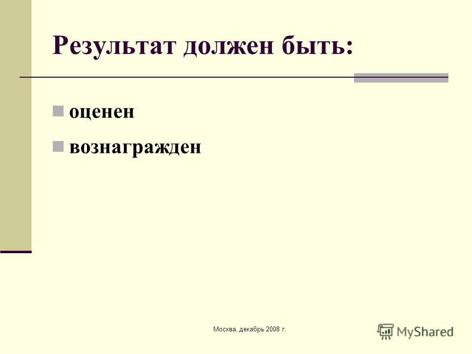 Москва, декабрь 2008 г. Результат должен быть: оценен вознагражден