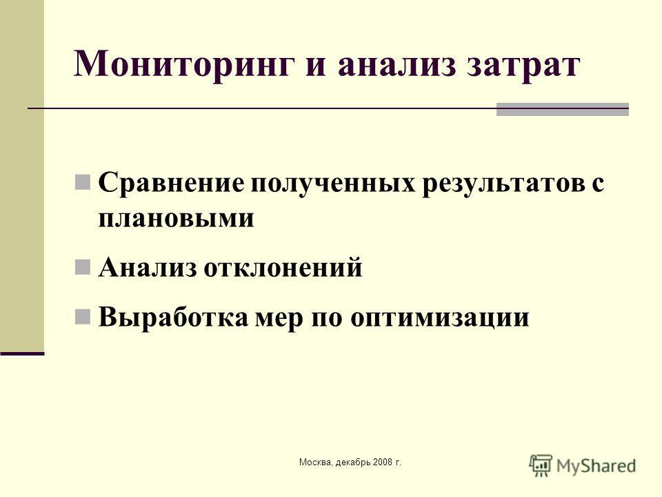 Москва, декабрь 2008 г. Мониторинг и анализ затрат Сравнение полученных результатов с плановыми Анализ отклонений Выработка мер по оптимизации