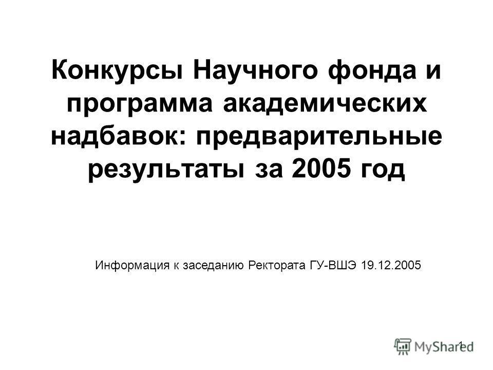 1 Конкурсы Научного фонда и программа академических надбавок: предварительные результаты за 2005 год Информация к заседанию Ректората ГУ-ВШЭ 19.12.2005