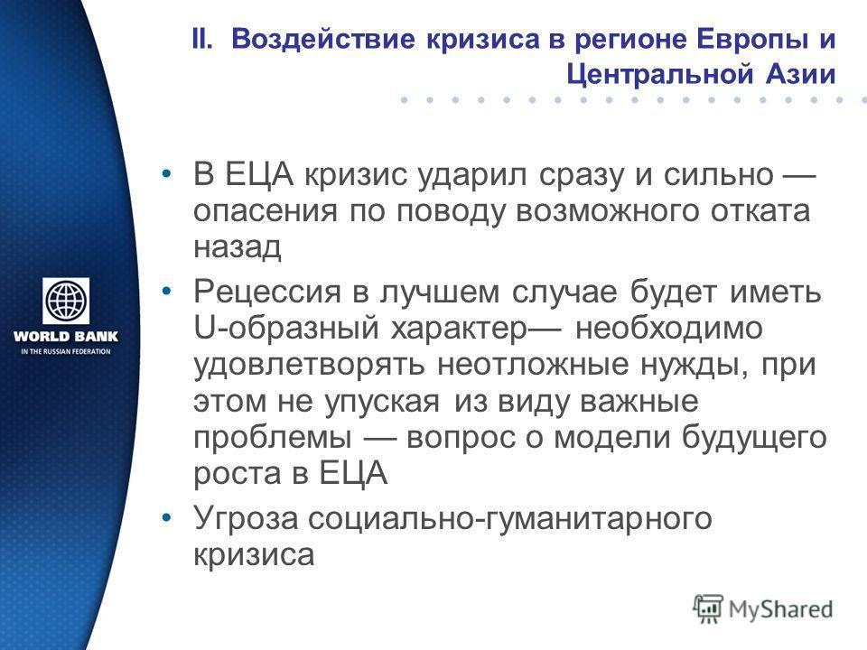 II. Воздействие кризиса в регионе Европы и Центральной Азии В ЕЦА кризис ударил сразу и сильно опасения по поводу возможного отката назад Рецессия в лучшем случае будет иметь U-образный характер необходимо удовлетворять неотложные нужды, при этом не