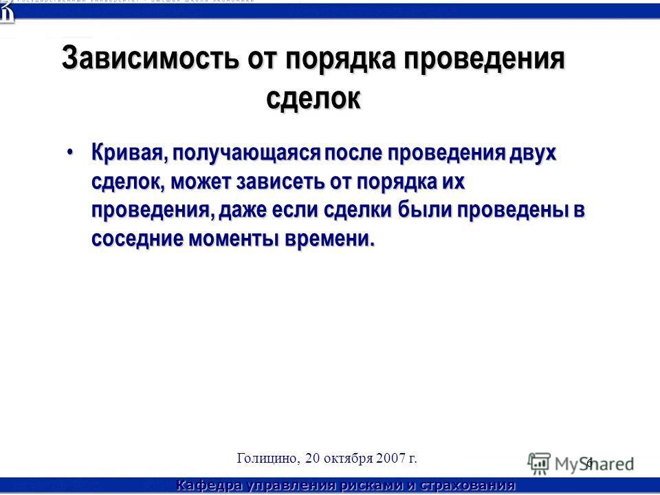 Кафедра управления рисками и страхования Голицино, 20 октября 2007 г. 6 Зависимость от порядка проведения сделок Кривая, получающаяся после проведения двух сделок, может зависеть от порядка их проведения, даже если сделки были проведены в соседние мо