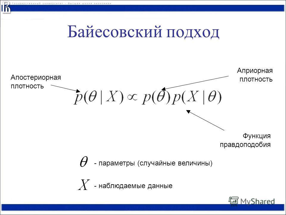 Апостериорная плотность Функция правдоподобия Априорная плотность - параметры (случайные величины) - наблюдаемые данные Байесовский подход