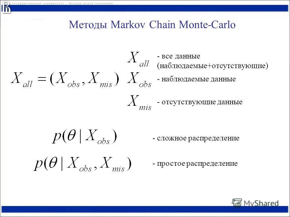 Методы Markov Chain Monte-Carlo - все данные (наблюдаемые+отсутствующие) - наблюдаемые данные - отсутствующие данные - сложное распределение - простое распределение