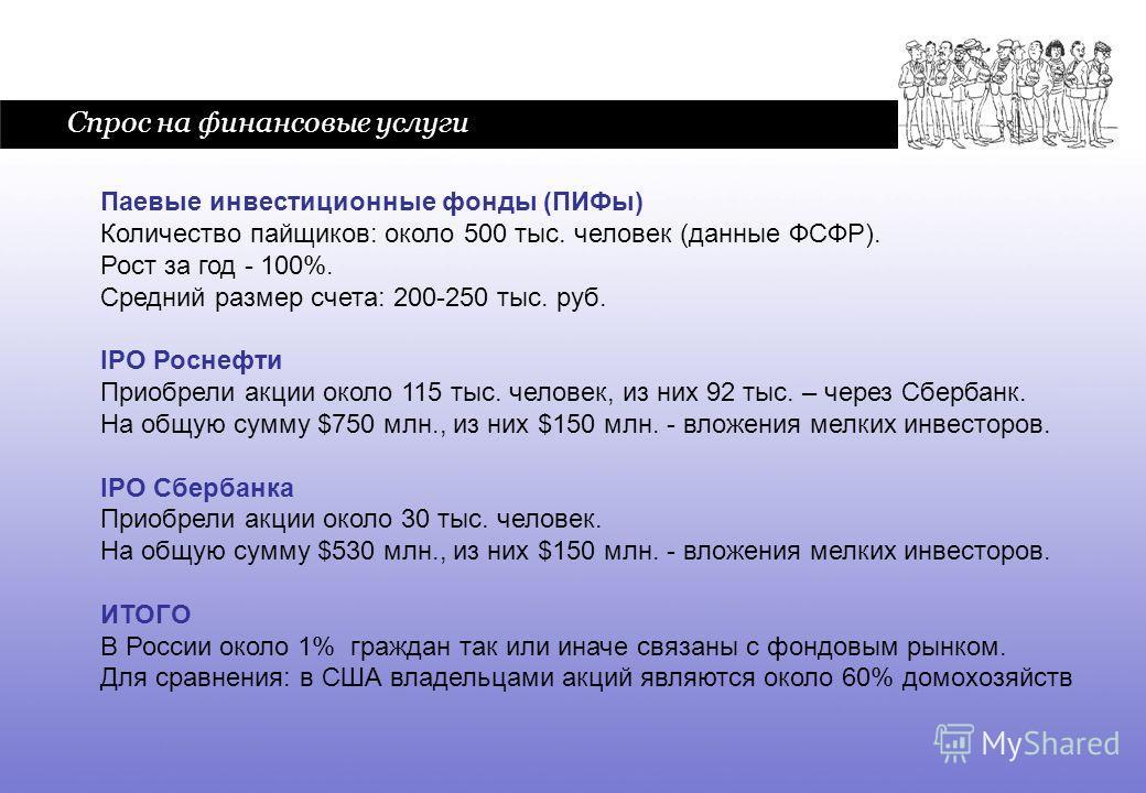 6 Спрос на финансовые услуги Паевые инвестиционные фонды (ПИФы) Количество пайщиков: около 500 тыс. человек (данные ФСФР). Рост за год - 100%. Средний размер счета: 200-250 тыс. руб. IPO Роснефти Приобрели акции около 115 тыс. человек, из них 92 тыс.