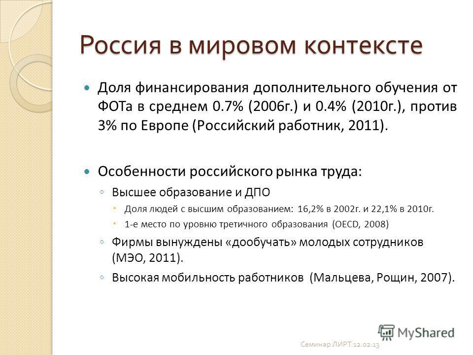 Россия в мировом контексте Доля финансирования дополнительного обучения от ФОТа в среднем 0.7% (2006г.) и 0.4% (2010г.), против 3% по Европе (Российский работник, 2011). Особенности российского рынка труда: Высшее образование и ДПО Доля людей с высши