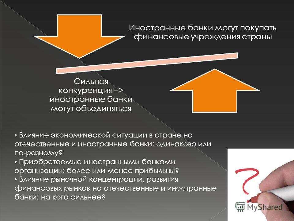 Иностранные банки могут покупать финансовые учреждения страны Сильная конкуренция => иностранные банки могут объединяться Влияние экономической ситуации в стране на отечественные и иностранные банки: одинаково или по-разному? Приобретаемые иностранны