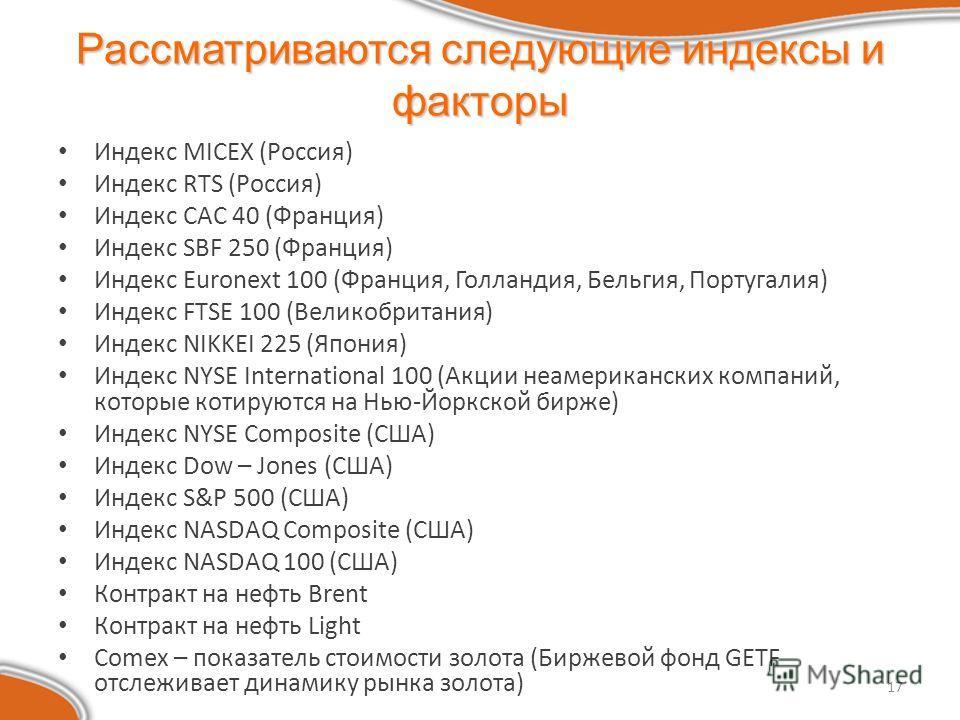 17 Рассматриваются следующие индексы и факторы Индекс MICEX (Россия) Индекс RTS (Россия) Индекс CAC 40 (Франция) Индекс SBF 250 (Франция) Индекс Euronext 100 (Франция, Голландия, Бельгия, Португалия) Индекс FTSE 100 (Великобритания) Индекс NIKKEI 225
