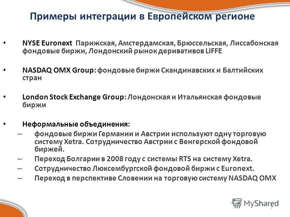 3 Примеры интеграции в Европейском регионе NYSE Euronext: Парижская, Амстердамская, Брюссельская, Лиссабонская фондовые биржи, Лондонский рынок деривативов LIFFE NASDAQ OMX Group: фондовые биржи Скандинавских и Балтийских стран London Stock Exchange