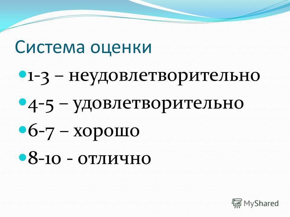 Система оценки 1-3 – неудовлетворительно 4-5 – удовлетворительно 6-7 – хорошо 8-10 - отлично