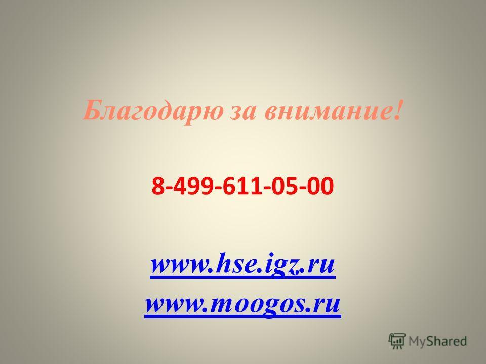 26 Благодарю за внимание! 8-499-611-05-00 www.hse.igz.ru www.moogos.ru