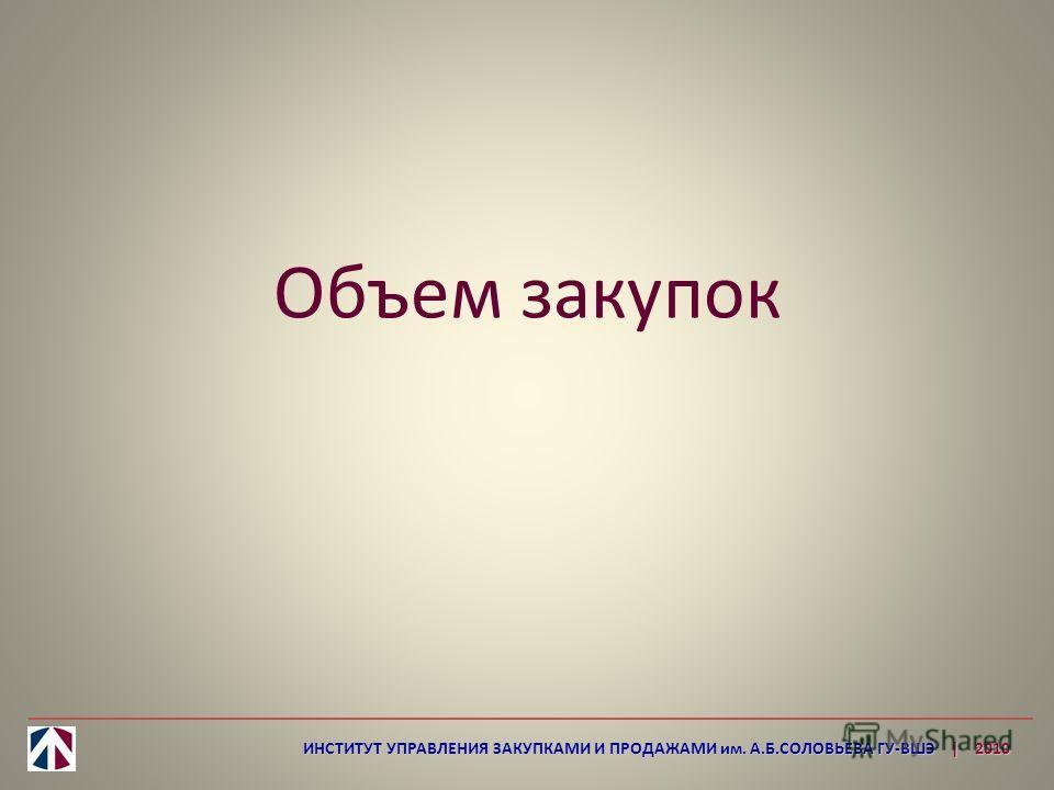 Объем закупок ИНСТИТУТ УПРАВЛЕНИЯ ЗАКУПКАМИ И ПРОДАЖАМИ им. А.Б.СОЛОВЬЕВА ГУ-ВШЭ | 2010
