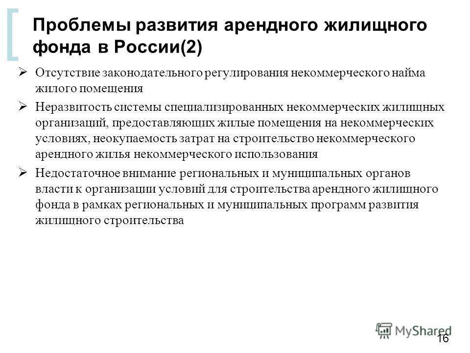 [ Проблемы развития арендного жилищного фонда в России(2) Отсутствие законодательного регулирования некоммерческого найма жилого помещения Неразвитость системы специализированных некоммерческих жилищных организаций, предоставляющих жилые помещения на