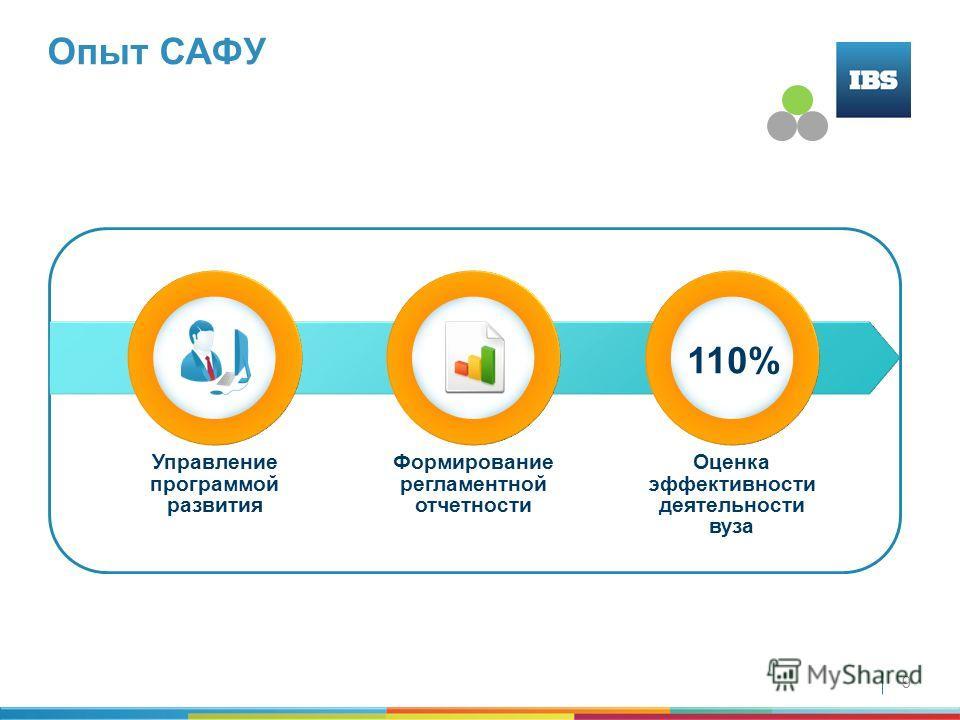 9 Опыт САФУ Управление программой развития Формирование регламентной отчетности Оценка эффективности деятельности вуза 110%