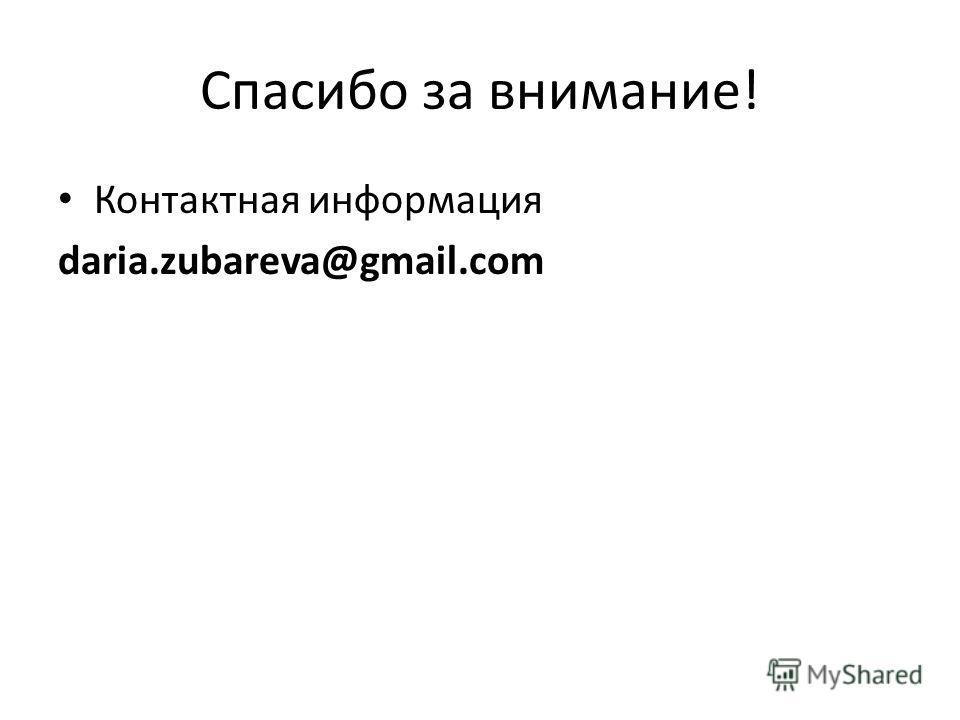 Спасибо за внимание! Контактная информация daria.zubareva@gmail.com