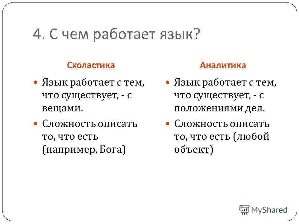 4. С чем работает язык ? СхоластикаАналитика Язык работает с тем, что существует, - с вещами. Сложность описать то, что есть ( например, Бога ) Язык работает с тем, что существует, - с положениями дел. Сложность описать то, что есть ( любой объект )