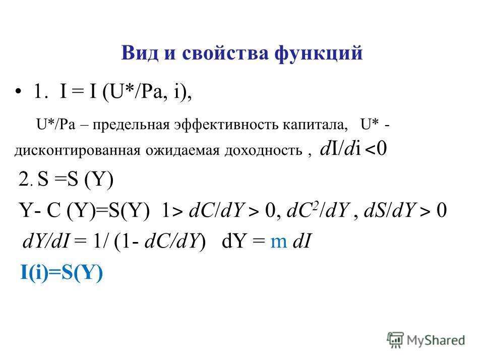Вид и свойства функций 1. I = I (U*/Pa, i), U*/Pa – предельная эффективность капитала, U* - дисконтированная ожидаемая доходность, dI/di ˂ 0 2. S =S (Y) Y- C (Y)=S(Y) 1 ˃ dC/dY ˃ 0, dC 2 /dY, dS/dY ˃ 0 dY/dI = 1/ (1- dC/dY) dY = m dI I(i)=S(Y)