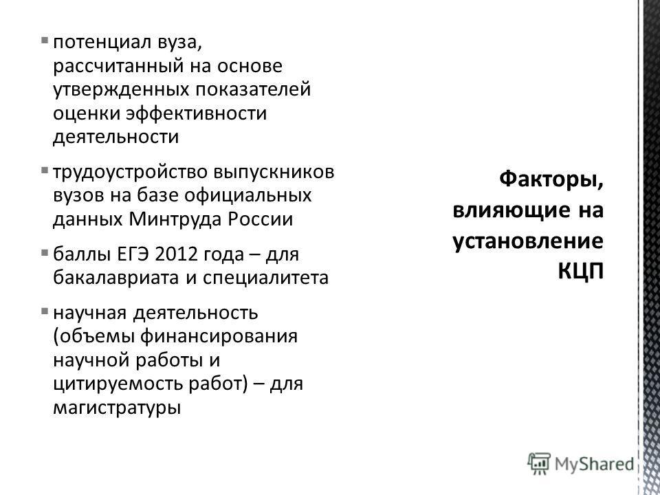 потенциал вуза, рассчитанный на основе утвержденных показателей оценки эффективности деятельности трудоустройство выпускников вузов на базе официальных данных Минтруда России баллы ЕГЭ 2012 года – для бакалавриата и специалитета научная деятельность