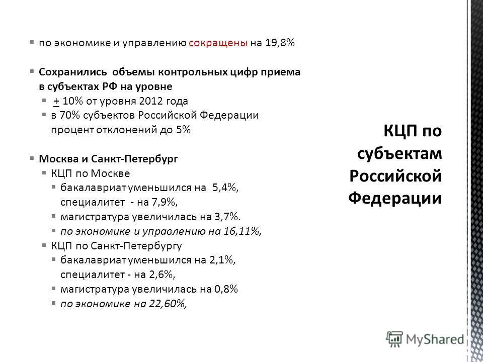 по экономике и управлению сокращены на 19,8% Сохранились объемы контрольных цифр приема в субъектах РФ на уровне + 10% от уровня 2012 года в 70% субъектов Российской Федерации процент отклонений до 5% Москва и Санкт-Петербург КЦП по Москве бакалавриа