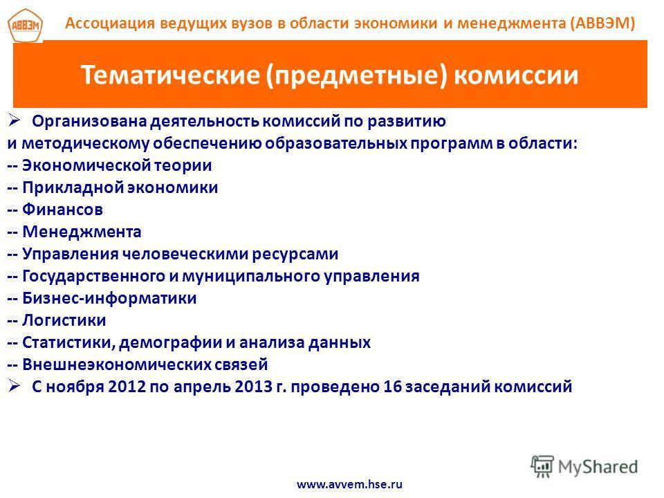Тематические (предметные) комиссии Организована деятельность комиссий по развитию и методическому обеспечению образовательных программ в области: -- Экономической теории -- Прикладной экономики -- Финансов -- Менеджмента -- Управления человеческими р