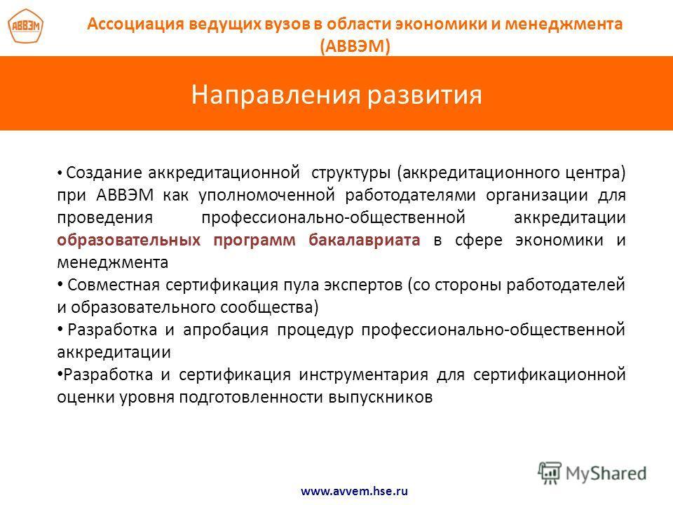 Направления развития www.avvem.hse.ru Ассоциация ведущих вузов в области экономики и менеджмента (АВВЭМ) Создание аккредитационной структуры (аккредитационного центра) при АВВЭМ как уполномоченной работодателями организации для проведения профессиона