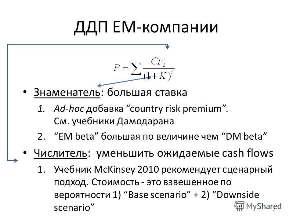 ДДП EM-компании Знаменатель: большая ставка 1.Ad-hoc добавка country risk premium. См. учебники Дамодарана 2.EM beta большая по величине чем DM beta Числитель: уменьшить ожидаемые cash flows 1.Учебник McKinsey 2010 рекомендует сценарный подход. Стоим