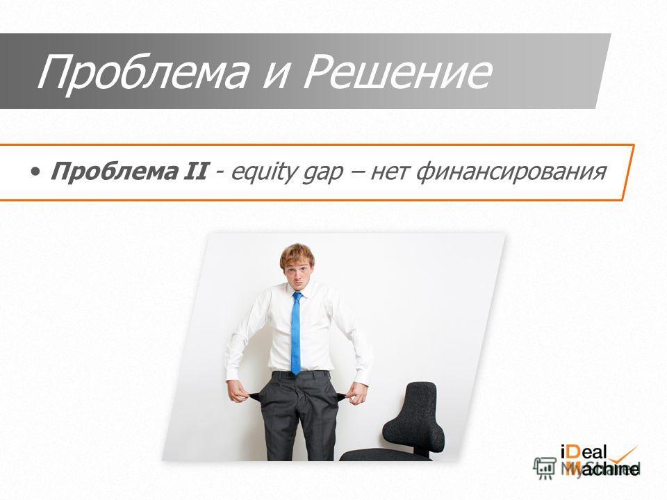 Проблема II - equity gap – нет финансирования Проблема и Решение
