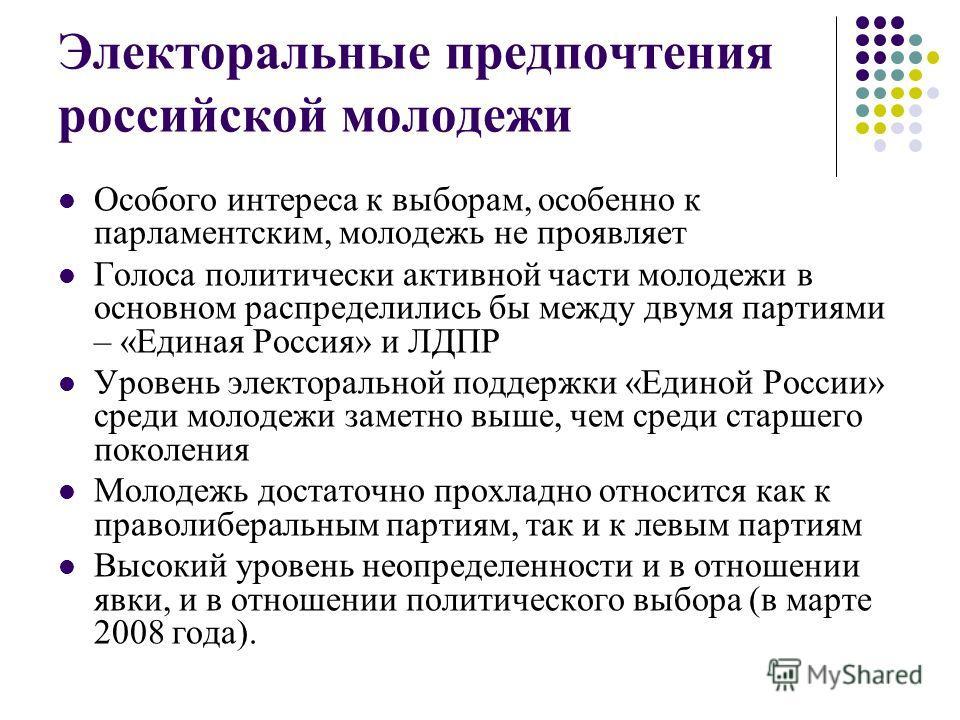 Электоральные предпочтения российской молодежи Особого интереса к выборам, особенно к парламентским, молодежь не проявляет Голоса политически активной части молодежи в основном распределились бы между двумя партиями – «Единая Россия» и ЛДПР Уровень э