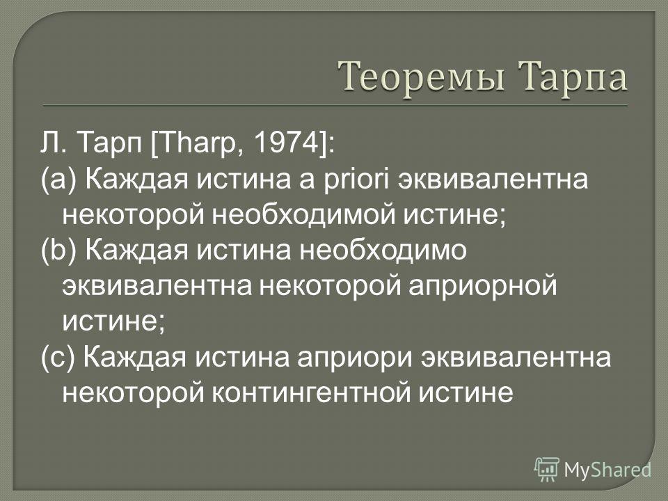 Л. Тарп [Tharp, 1974]: (а) Каждая истина a priori эквивалентна некоторой необходимой истине; (b) Каждая истина необходимо эквивалентна некоторой априорной истине; (с) Каждая истина априори эквивалентна некоторой контингентной истине