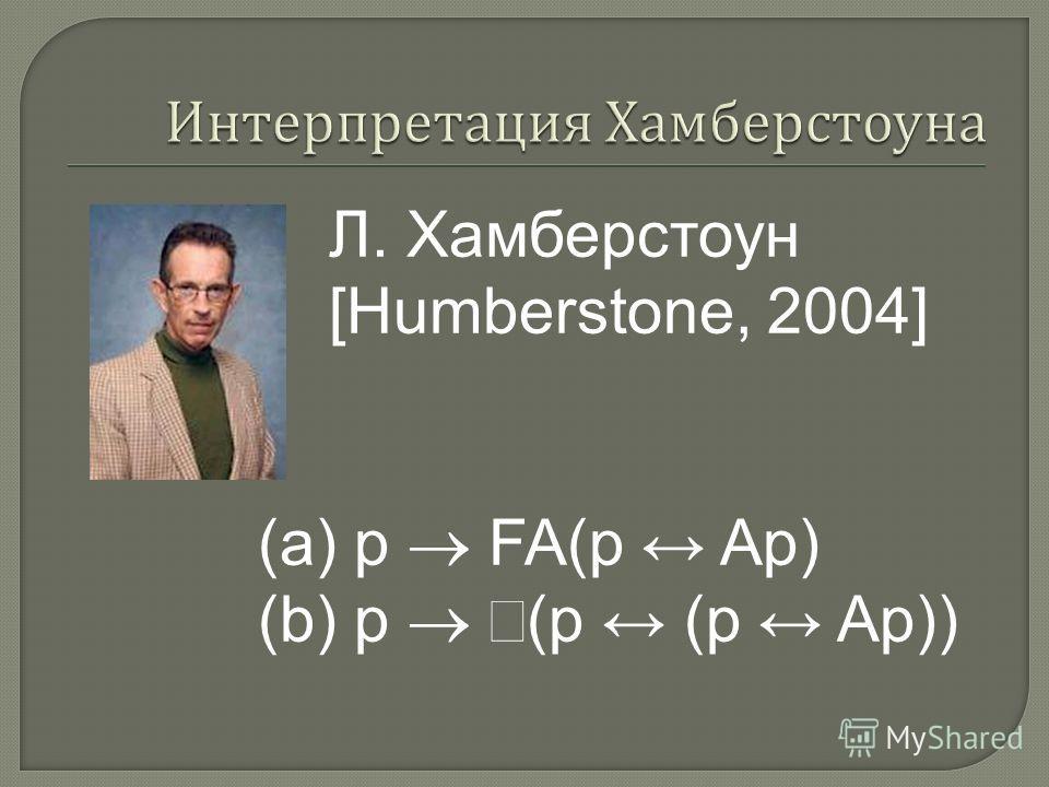 Л. Хамберстоун [Humberstone, 2004] (a) p FA(p Ap) (b) p (p (p Ap))