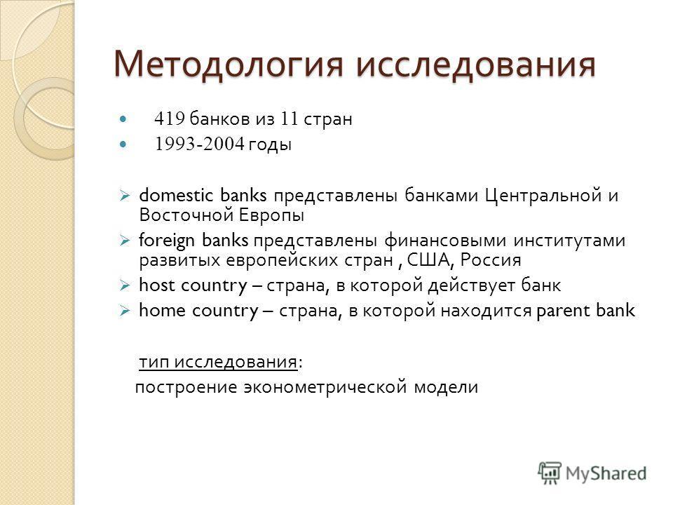 Методология исследования 419 банков из 11 стран 1993-2004 годы domestic banks представлены банками Центральной и Восточной Европы foreign banks представлены финансовыми институтами развитых европейских стран, США, Россия host country – страна, в кото