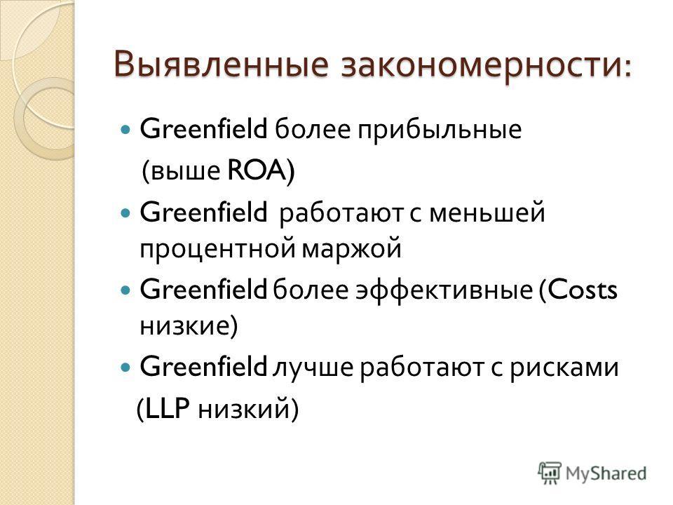 Выявленные закономерности : Greenfield более прибыльные ( выше ROA) Greenfield работают с меньшей процентной маржой Greenfield более эффективные (Costs низкие ) Greenfield лучше работают с рисками (LLP низкий )