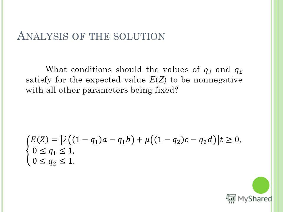 A NALYSIS OF THE SOLUTION 21