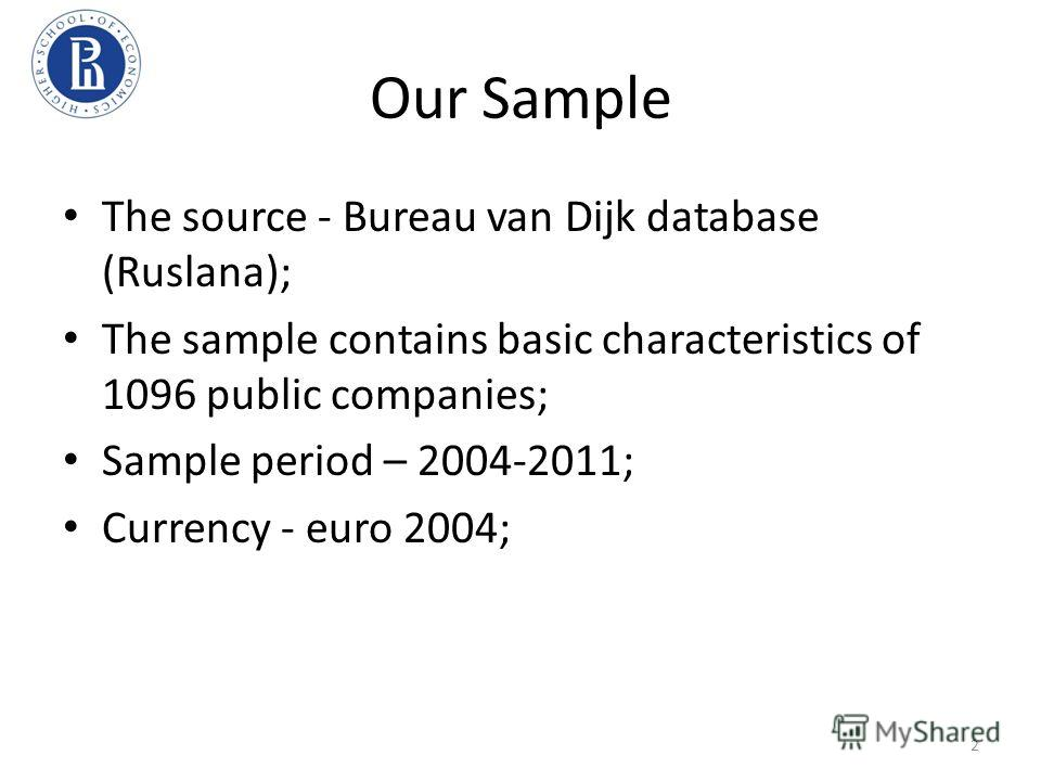 Our Sample The source - Bureau van Dijk database (Ruslana); The sample contains basic characteristics of 1096 public companies; Sample period – 2004-2011; Currency - euro 2004; 2