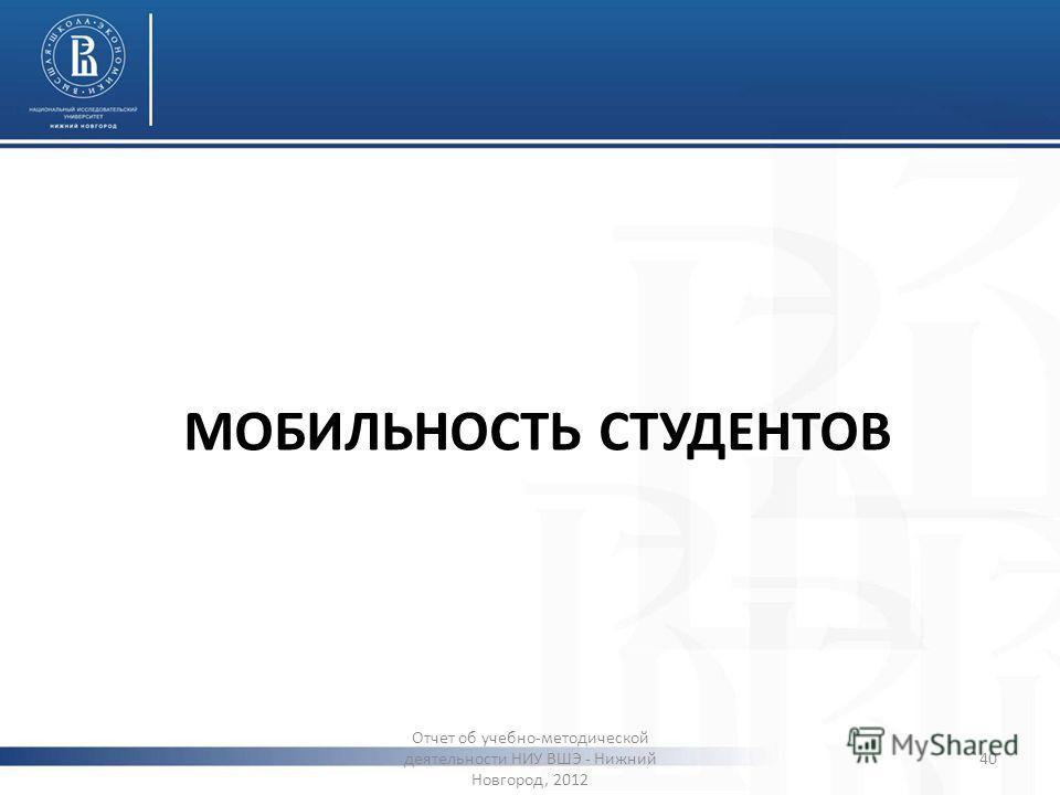 МОБИЛЬНОСТЬ СТУДЕНТОВ Отчет об учебно-методической деятельности НИУ ВШЭ - Нижний Новгород, 2012 40