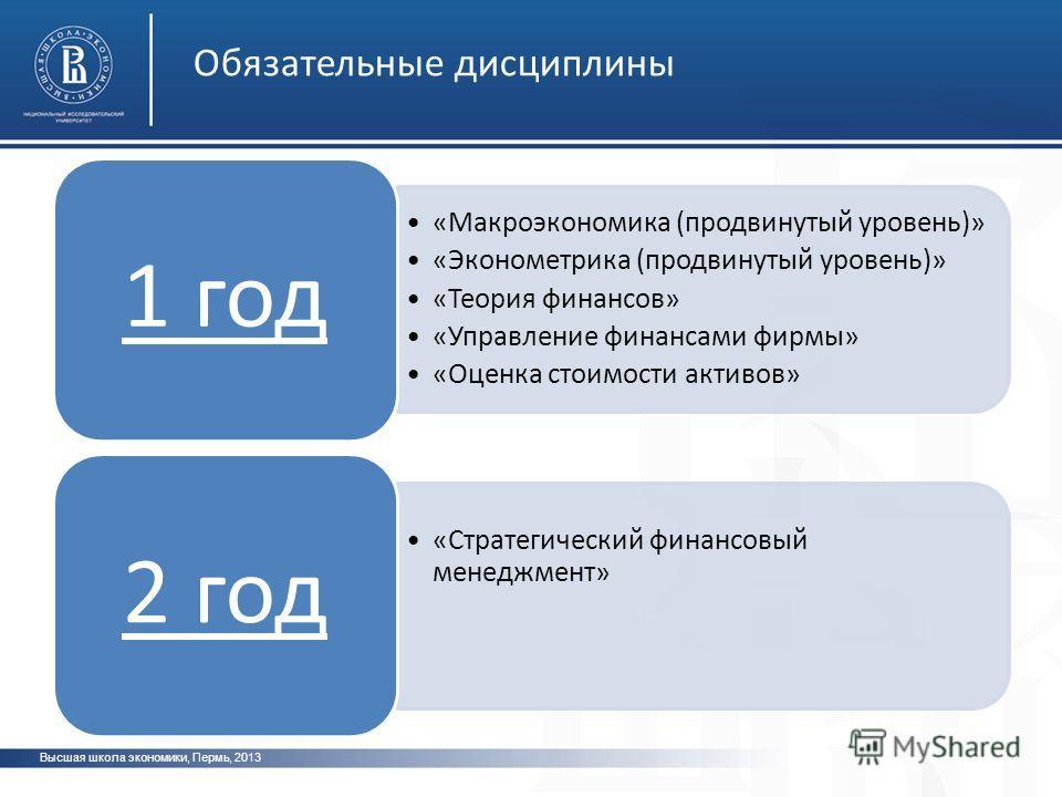 Высшая школа экономики, Пермь, 2013 Обязательные дисциплины фото «Макроэкономика (продвинутый уровень)» «Эконометрика (продвинутый уровень)» «Теория финансов» «Управление финансами фирмы» «Оценка стоимости активов» 1 год «Стратегический финансовый ме