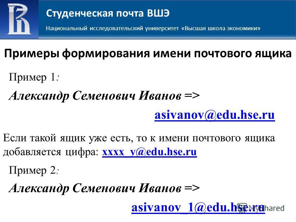 Примеры формирования имени почтового ящика Пример 1: Александр Семенович Иванов => asivanov@edu.hse.ru Если такой ящик уже есть, то к имени почтового ящика добавляется цифра: xxxx_y@edu.hse.ruxxxx_y@edu.hse.ru Пример 2 : Александр Семенович Иванов =>