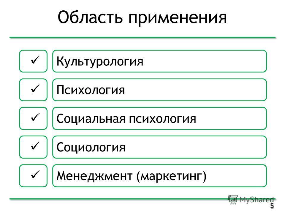 Область применения 5 Культурология Психология Социальная психология Социология Менеджмент (маркетинг)