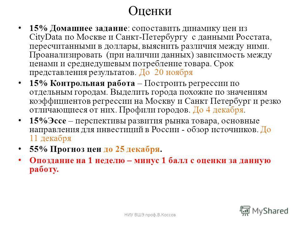 Оценки 15% Домашнее задание: сопоставить динамику цен из CityData по Москве и Санкт-Петербургу с данными Росстата, пересчитанными в доллары, выяснить различия между ними. Проанализировать (при наличии данных) зависимость между ценами и среднедушевым