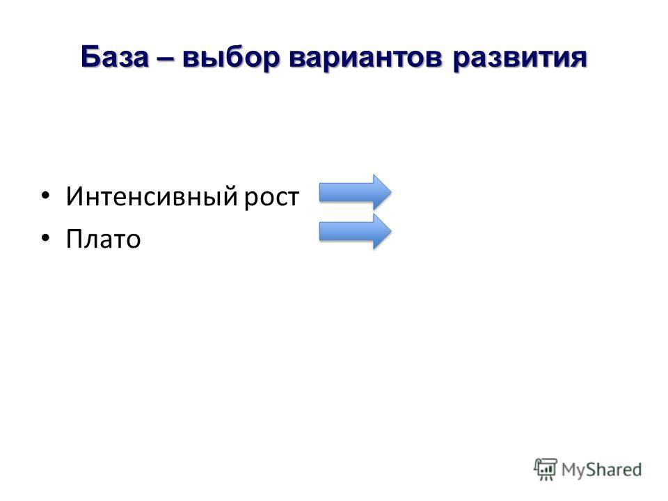 База – выбор вариантов развития Интенсивный рост Плато
