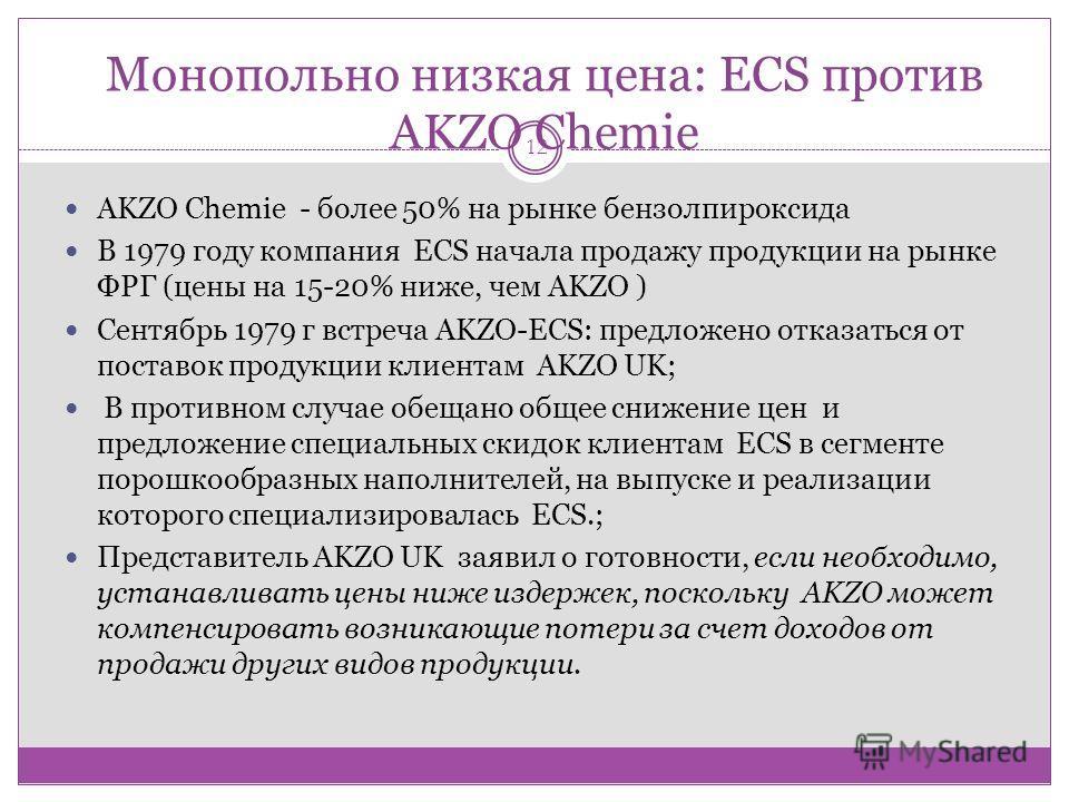 Монопольно низкая цена: ECS против AKZO Chemie 12 AKZO Chemie - более 50% на рынке бензолпироксида В 1979 году компания ECS начала продажу продукции на рынке ФРГ (цены на 15-20% ниже, чем AKZO ) Сентябрь 1979 г встреча AKZO-ECS: предложено отказаться