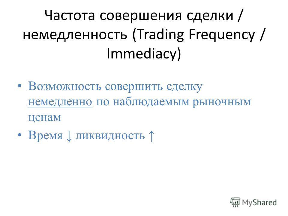 Частота совершения сделки / немедленность (Trading Frequency / Immediacy) Возможность совершить сделку немедленно по наблюдаемым рыночным ценам Время ликвидность