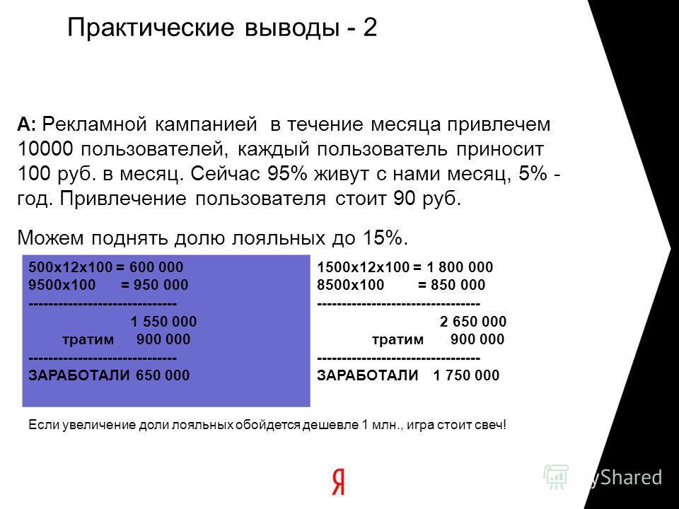 Практические выводы - 2 A: Рекламной кампанией в течение месяца привлечем 10000 пользователей, каждый пользователь приносит 100 руб. в месяц. Сейчас 95% живут с нами месяц, 5% - год. Привлечение пользователя стоит 90 руб. Можем поднять долю лояльных