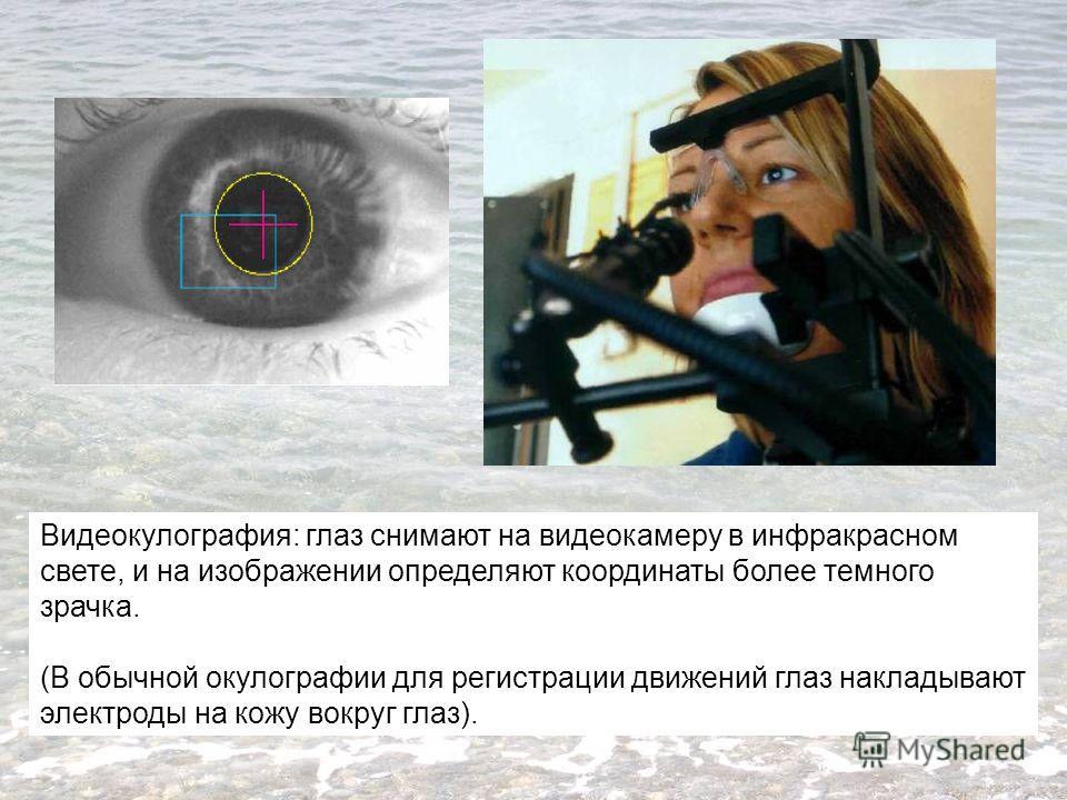 Видеокулография: глаз снимают на видеокамеру в инфракрасном свете, и на изображении определяют координаты более темного зрачка. (В обычной окулографии для регистрации движений глаз накладывают электроды на кожу вокруг глаз).