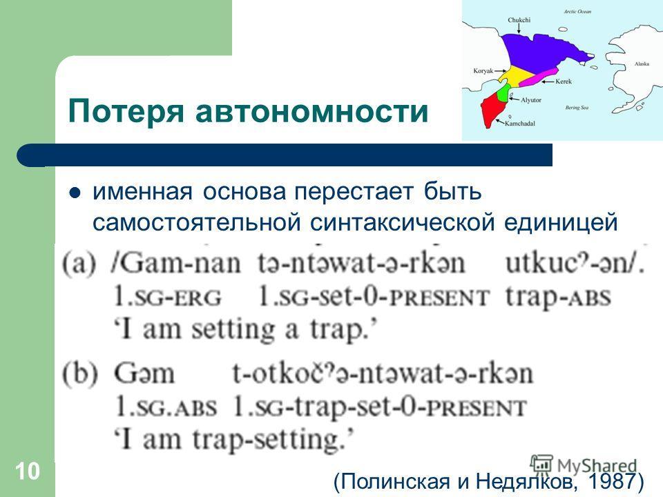 10 Потеря автономности именная основа перестает быть самостоятельной синтаксической единицей (Полинская и Недялков, 1987)