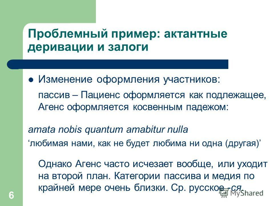 6 Проблемный пример: актантные деривации и залоги Изменение оформления участников: пассив – Пациенс оформляется как подлежащее, Агенс оформляется косвенным падежом: amata nobis quantum amabitur nulla любимая нами, как не будет любима ни одна (другая)